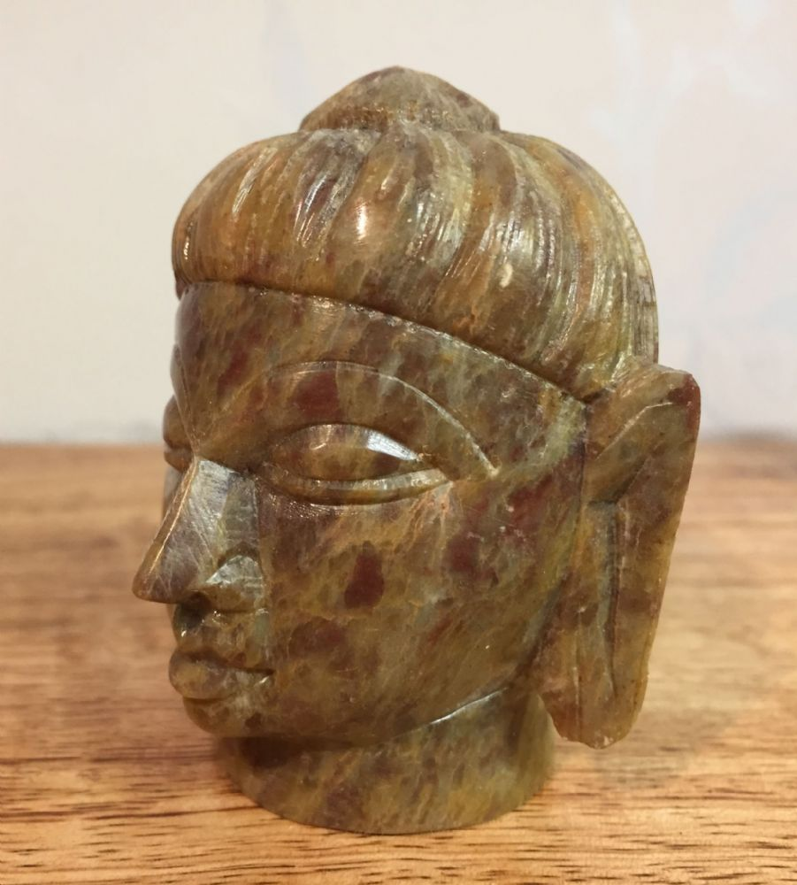 Indian Soapstone Hand Carved Small Buddha Head in Soft Green